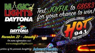 Text JOYFUL to 68683 to enter for a chance to win a car pass to Magic of Lights at Daytona International Speedway