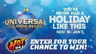 HOT 94.1 Wants You To Enjoy The Holidays At Universal Orlando Resort!
